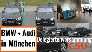 BMW + Audi Staatskarossen bei der BMW Welt München - Delegiertenversammlung CSU