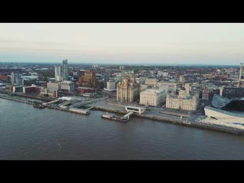 DJI Mavic Pro 4k Drone flight across the River Mersey, Liverpool