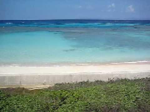 ニシ浜へと続く道から砂浜と海を一望