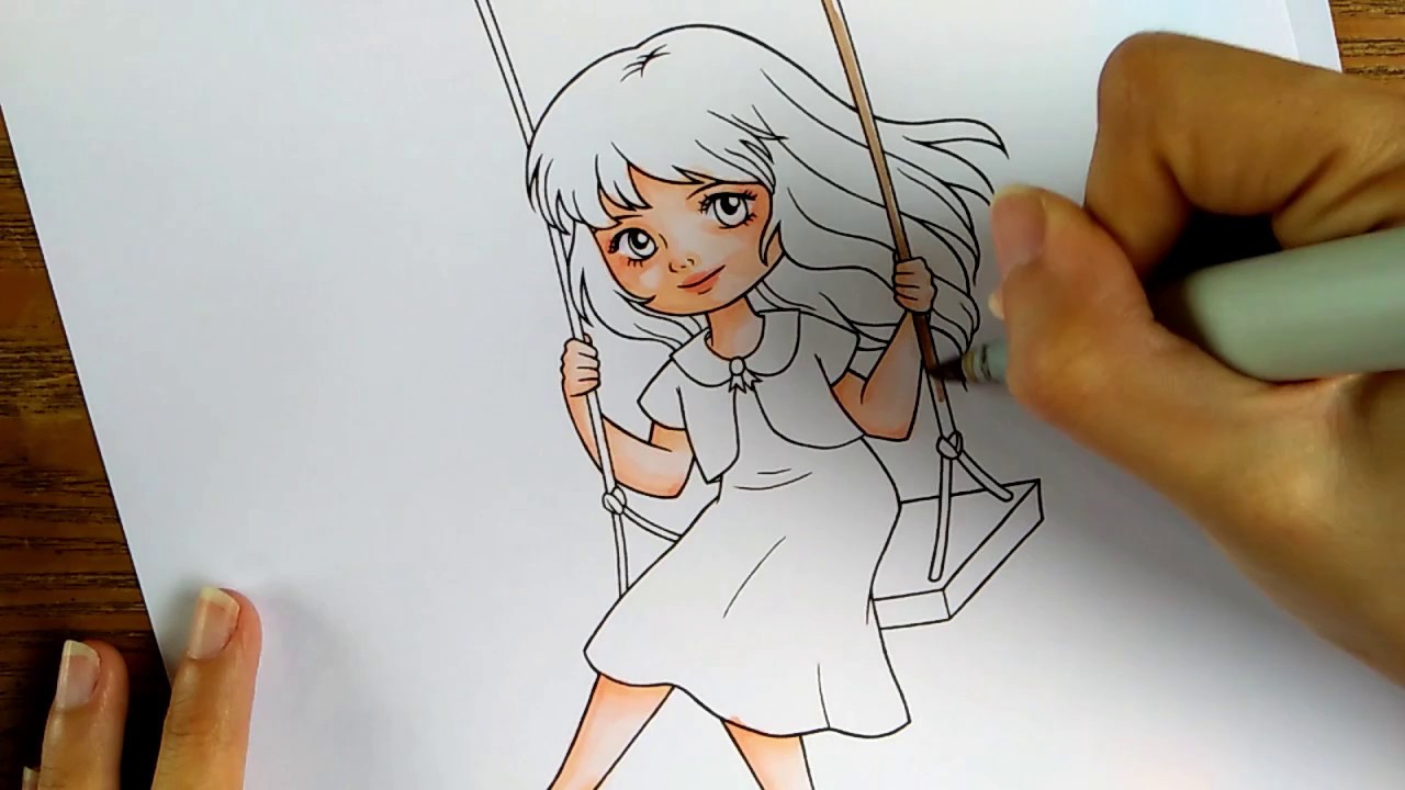How to color with Copic markers - Swing Girl Speed ...