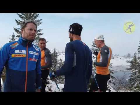 Интервальная тренировка лыжников.