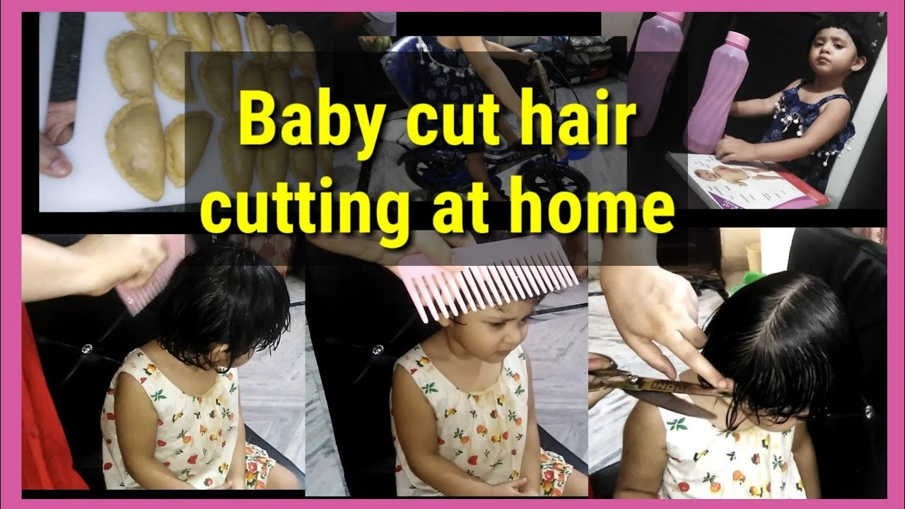 Hair cutting of 10 years baby at home. How to cut hair of a baby girl at  home-Baby girl hair cutting.