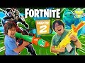 Ryan & Daddy Let's Play FORTNITE CHAPTER 2 ROCKET LAUNCH BATTLE ROYALE DUOS