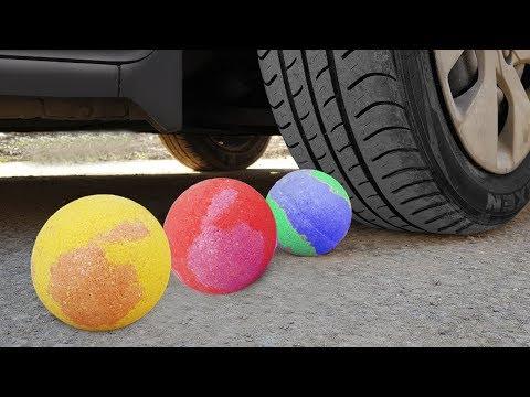 Crushing Crunchy & Soft Things by Car! Bath Bombs, Pencils, Chalk!