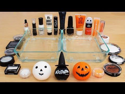 Black vs White vs Orange - Mixing Makeup Eyeshadow Into Slime Special Series Satisfying Slime Video