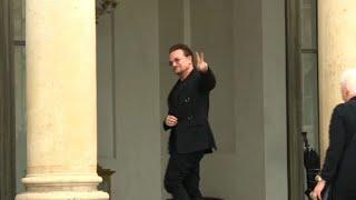 U2 star Bono meets President Macron at the Elysee