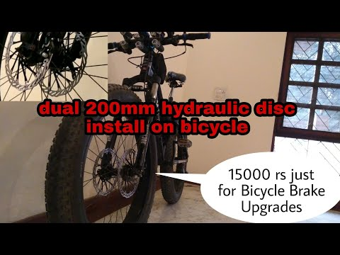 Installing Dual Hydraulic 200mm Disc Brakes on bicycle | Biggest and Most Powerful Setup