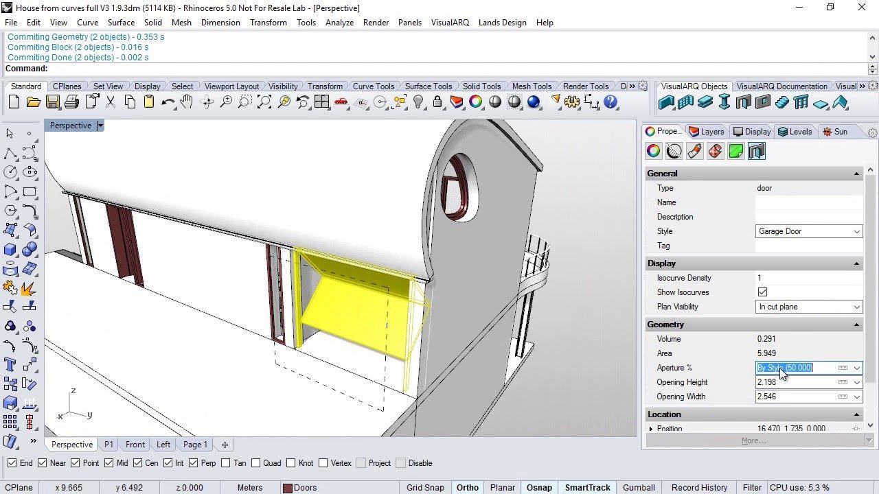 Visualarq 20 Sneak Preview Garage Door Style From Grasshopper