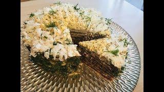 Как сделать  вкусный печеночный блинный торт к праздничному столу. 25.11.18