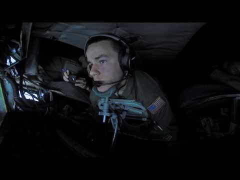 360 Video - KC-135R Stratotanker refueling F-16 over Gulf of Mexico