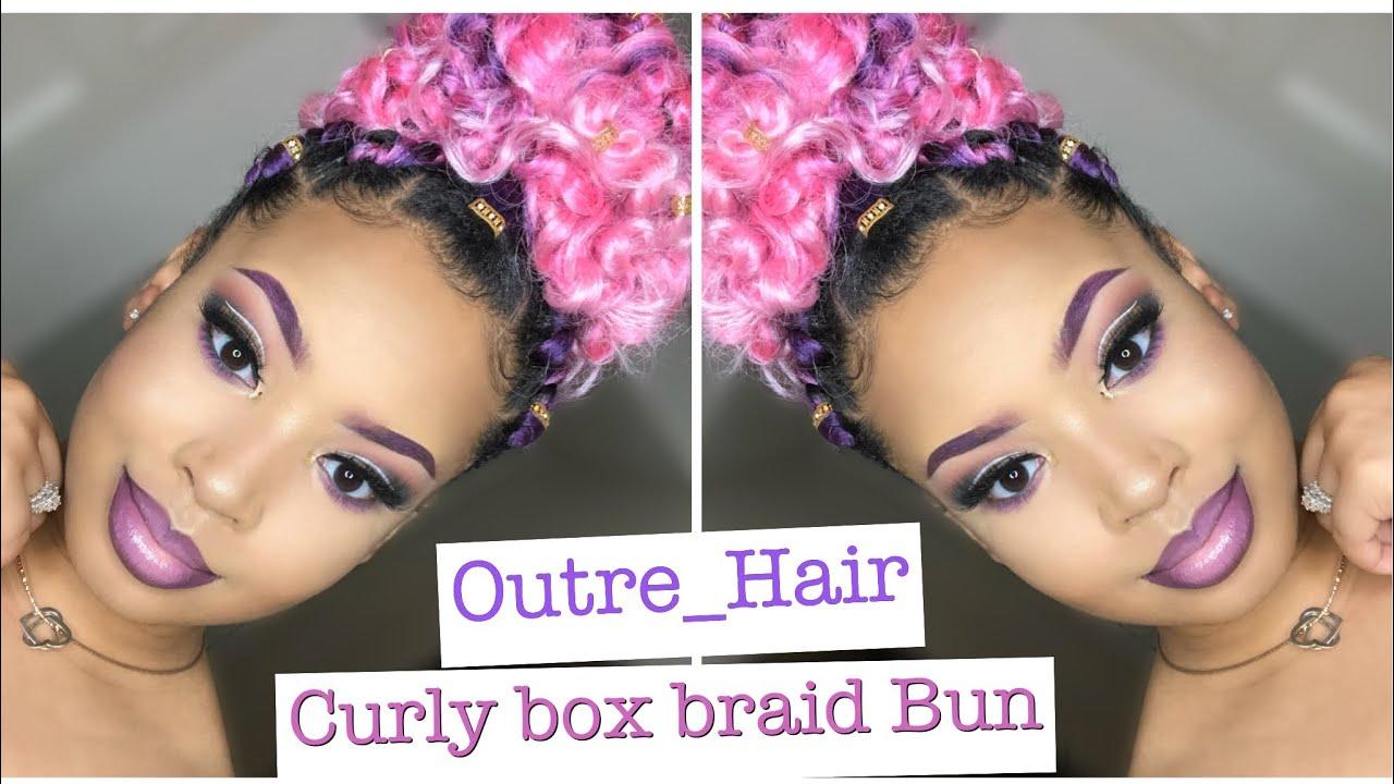 Curly Box Braid Bun Using Outre Hair Youtube