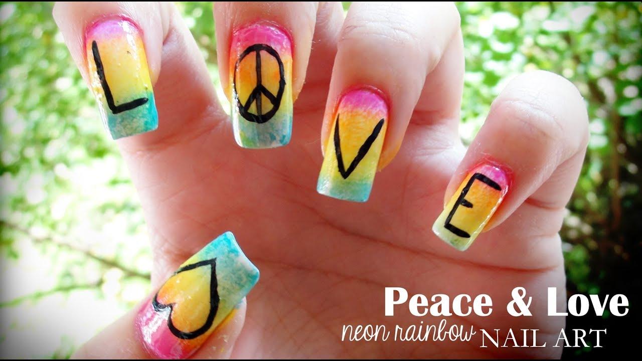 Peace & Love Neon Rainbow Nail Art - YouTube