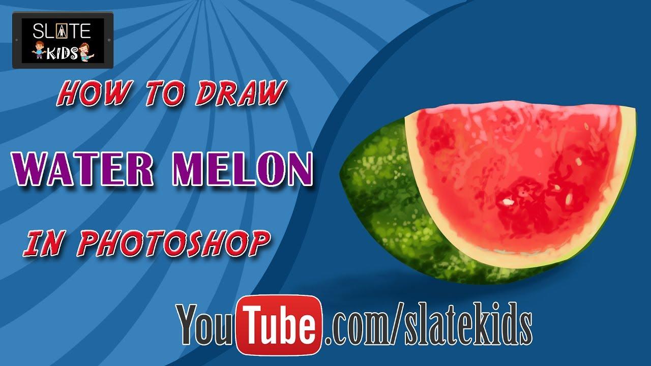 how to draw watermelon slice in adobe photo shop digital