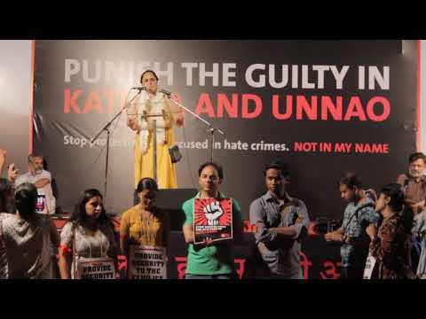Adv. Deepika Rajawat speaking at #NotInMyName Delhi protest