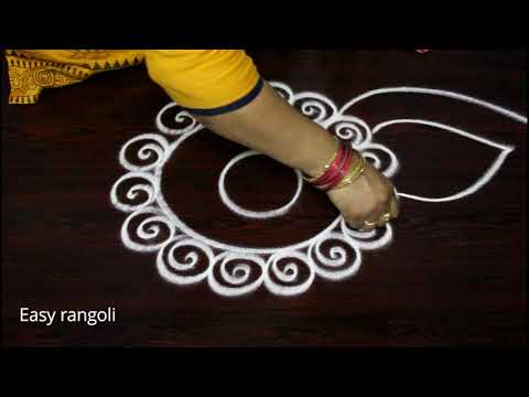 easy rangoli designs with out dots for nava rathri || simple kolam designs for pooja - muggulu