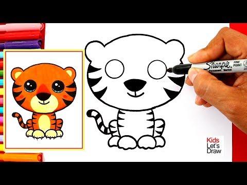 Aprende A Dibujar Un Tigre Kawaii Fácil How To Draw A Cute