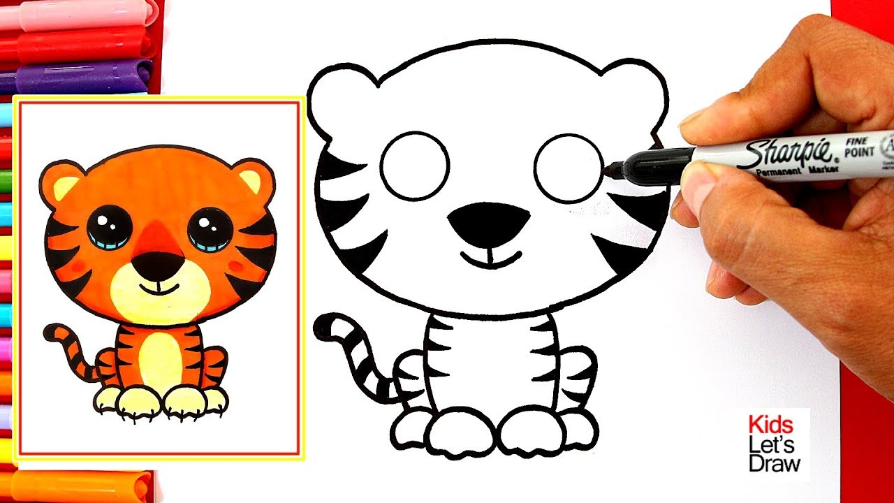 Aprende A Dibujar Un Tigre Kawaii Fácil How To Draw A Cute Tiger Easy