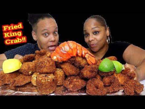 Fried Seafood Mukbang (King Crab, Lobster, Scallops, Shrimp)