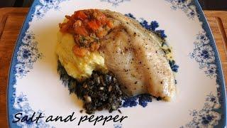 Тилапия с картофельным пюре, тапенадой и соусом бер-блан [Salt and pepper]