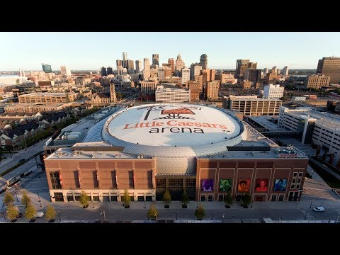 Little Caesar's Arena - Aerial time lapse - Beginning to end of construction