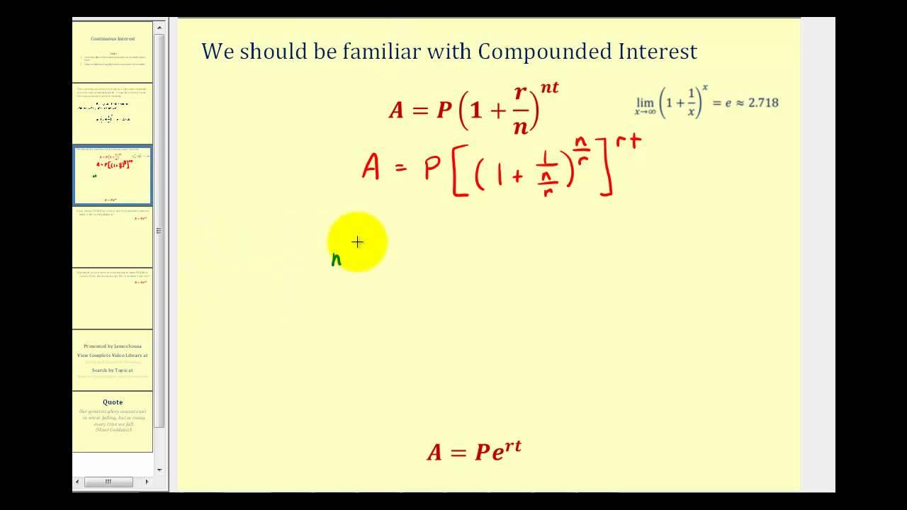 Continuous Interest Formula