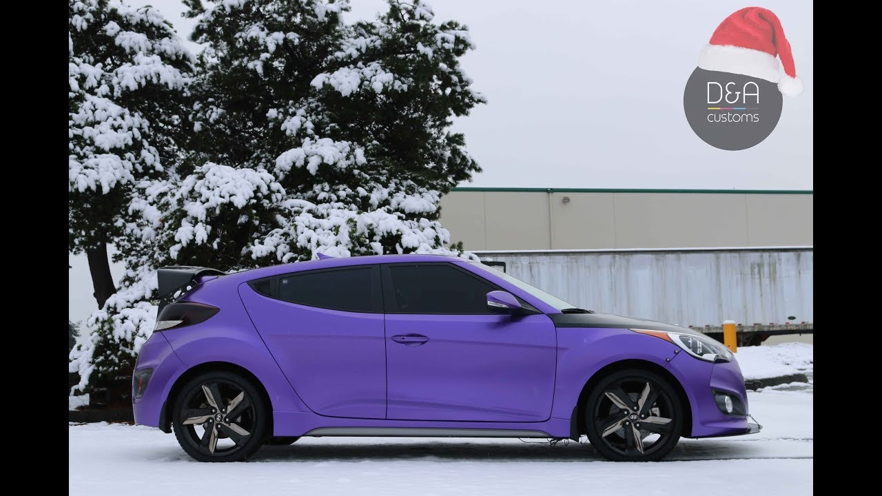 Used Hyundai Veloster >> Purple Satin Full wrap on Veloster by D&A Customs in Seatlle | Bellevue | Tacoma | Kent - YouTube