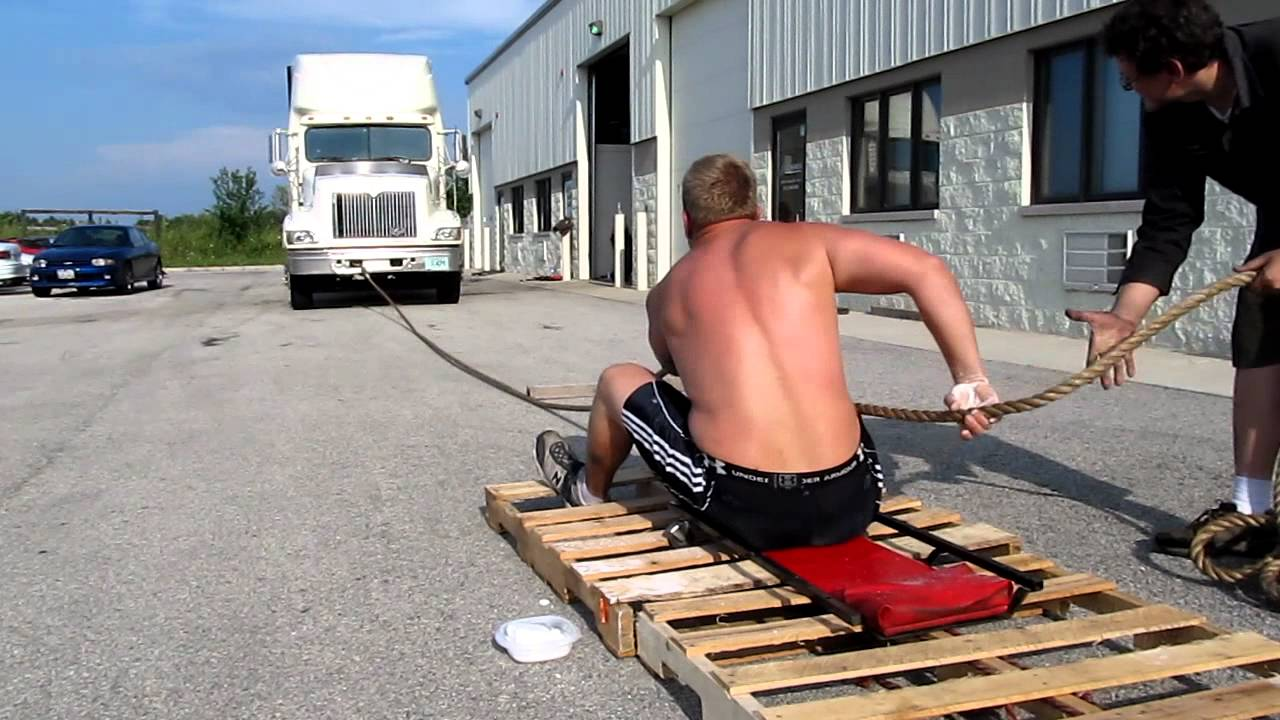 semi truck rope pull strong man style youtube