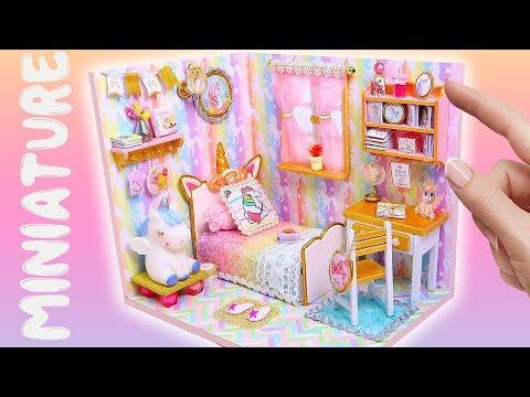 DIY Miniature Magical Unicorn Dollhouse Room || Bedroom for Barbie