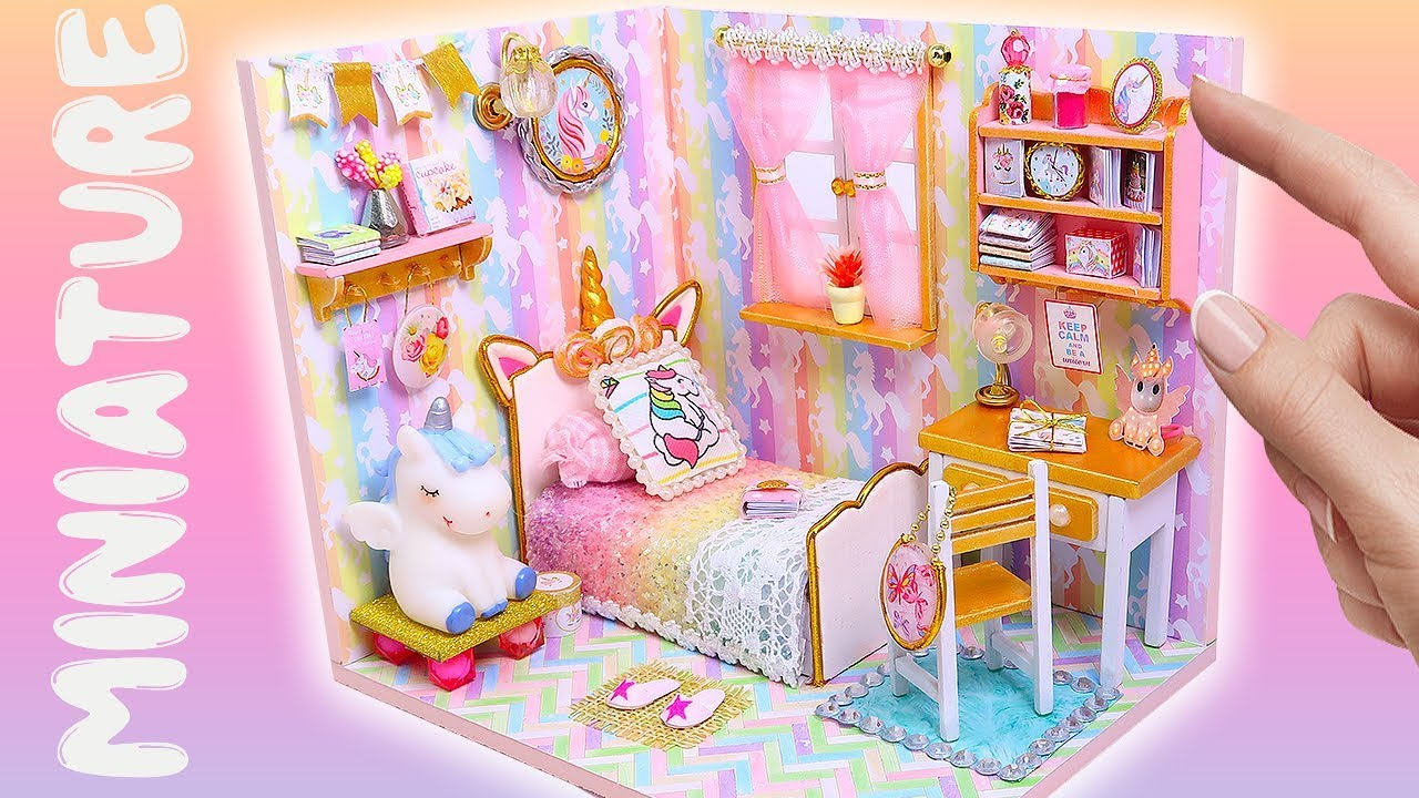 Barbie Bedroom In A Box: DIY Miniature Magical Unicorn Dollhouse Room