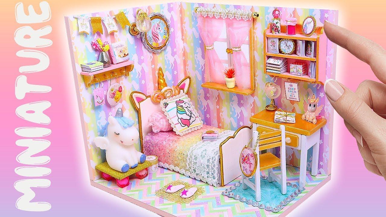 DIY Miniature Magical Unicorn Dollhouse Room  Bedroom