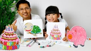 How to coloring birthday cake & Coloring turtle   Colouring Videos for Kids