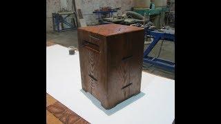 Табурет-кубик из цельного бревна . Cube stool .