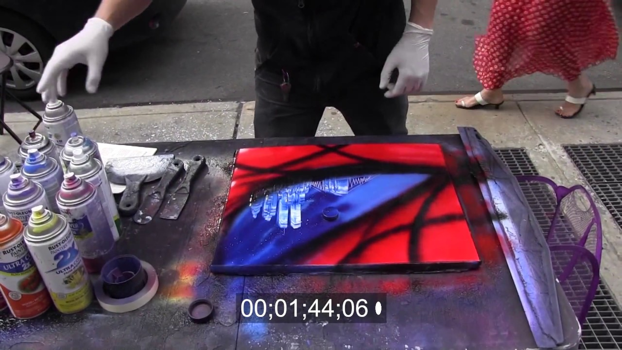 AMAZING street performer spray paint art