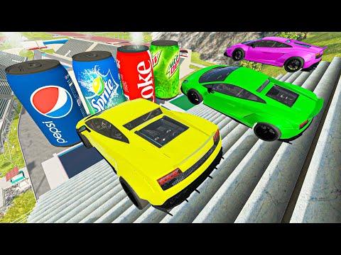 Vehicles Huge Jumps Big Air Crashes - Cars vs Stairs   BeamNG.Drive Game