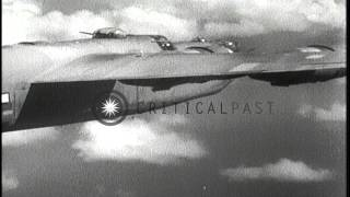 U.S. 7th Air Force B-24 Liberator aircraft bomb targets on Iwo Jima, Japan. HD Stock Footage