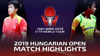 Wang Chuqin vs Hugo Calderano | 2019 ITTF World Tour Hungarian Open Highlights (1/4)