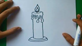 Como dibujar una vela paso a paso | How to draw a candle