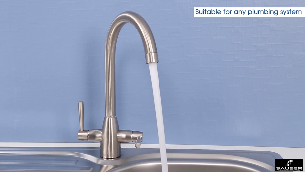 Sauber Vevey Brushed Kitchen Mixer Tap - Plumbworld - YouTube
