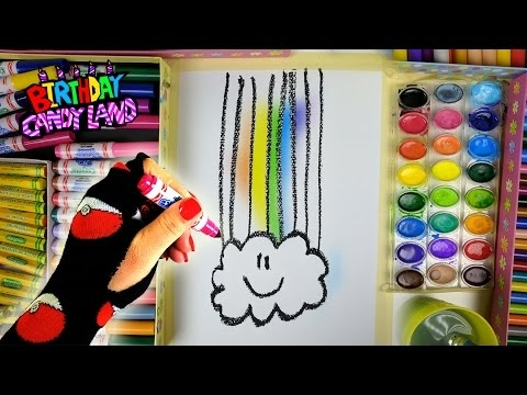 learn colors for kids and color hand drawn rainbow cloud coloring page - Coloring Page Rainbow Clouds