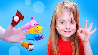 Finger family song with baby animal toys