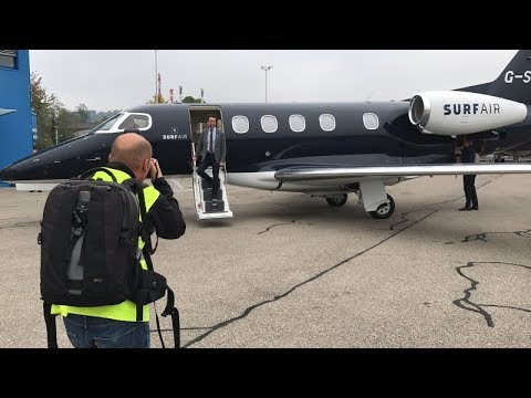 Surf Air private jet launch flight from London Luton to Zurich