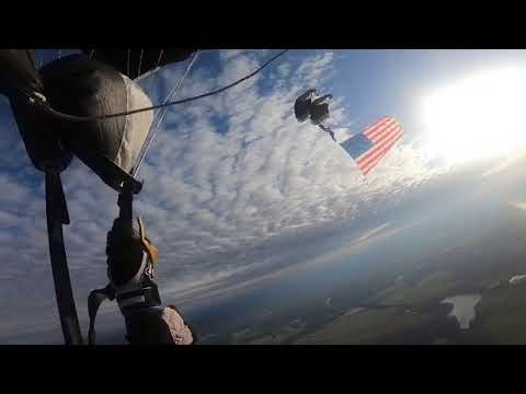 US Army Silver Wings Jump With American Flag