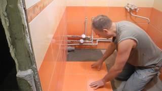 Укладка плитки напол в ванной комнате ч.3(В этом ролике показано откуда начинать класть половую плитку,как делать подрезку к стенам.Ролик относится..., 2013-12-07T16:56:09.000Z)