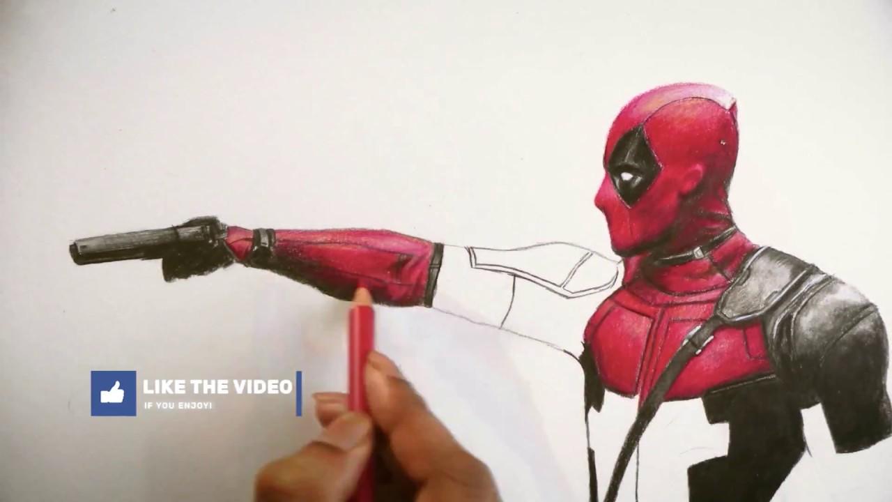 Pencil Deadpool Drawing Face Gif