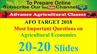 IBPS AFO Agricultural Economics Most Important Questions