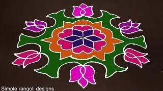 Beautiful Flower Rangoli Kolam Designs With 13 to 7 Dots [Sankranthi Muggulu]