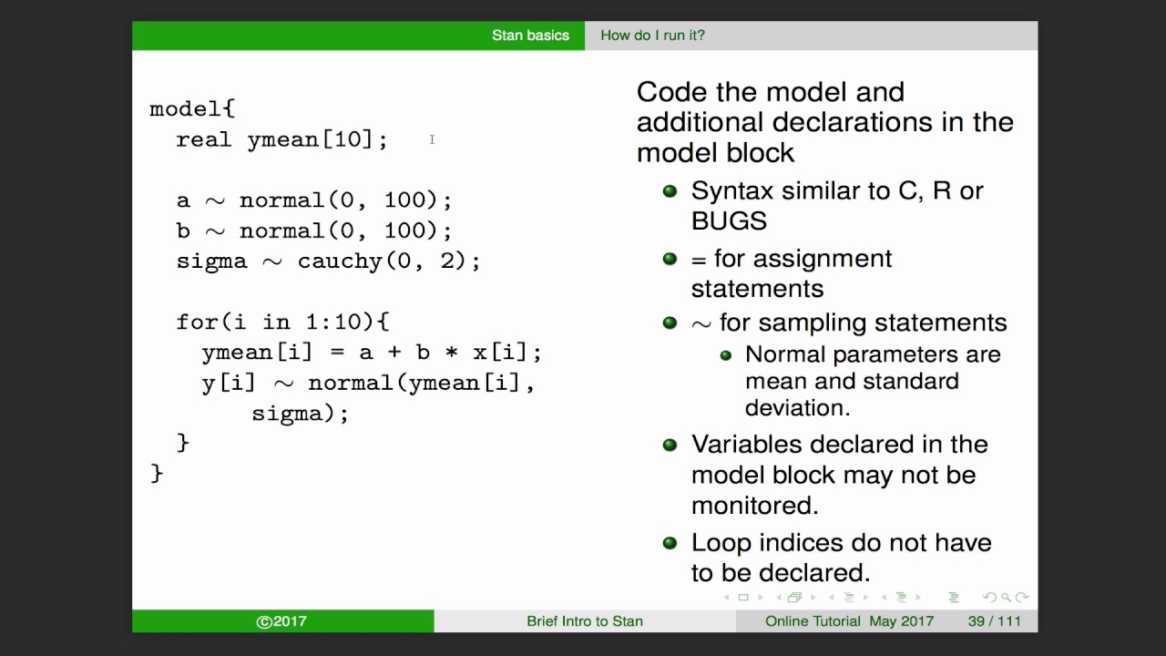Lecture 2: A Brief Introduction to Bayesian Modeling Using Stan (2017)