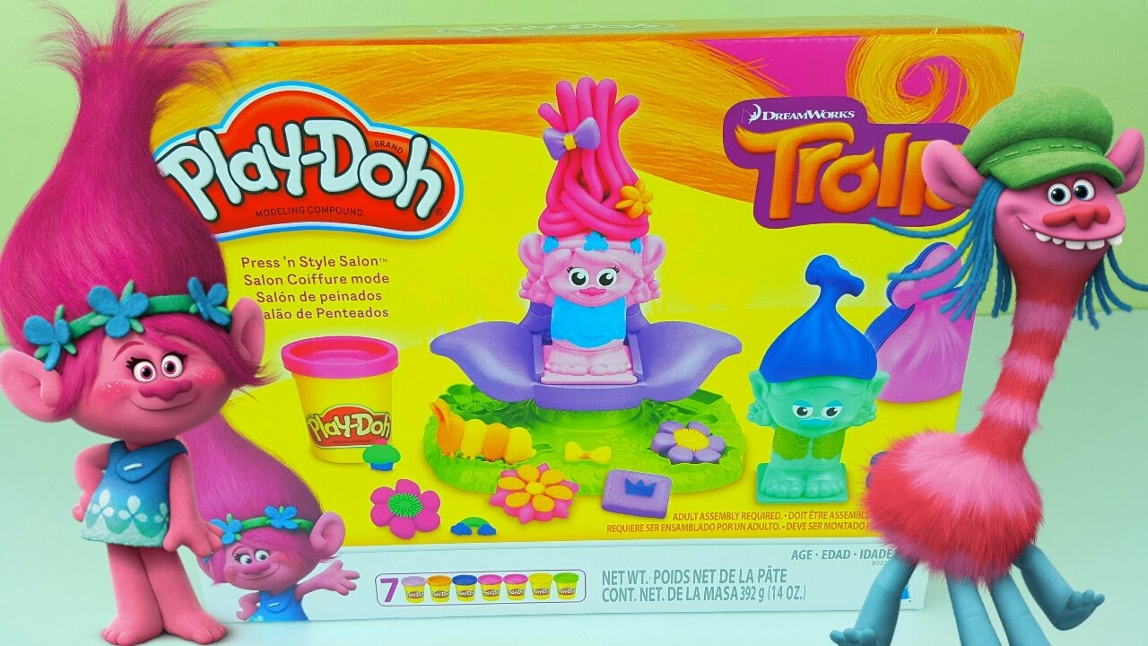Trolls Haircut Playdoh Unboxing Youtube