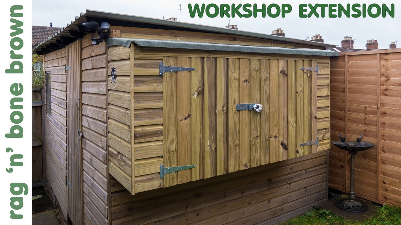 building  workshop shed extension part    youtube