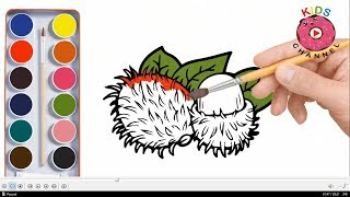 How to Draw Rambutan and Star fruit | Rambutan Coloring Pages | Learn Coloring - kids channel